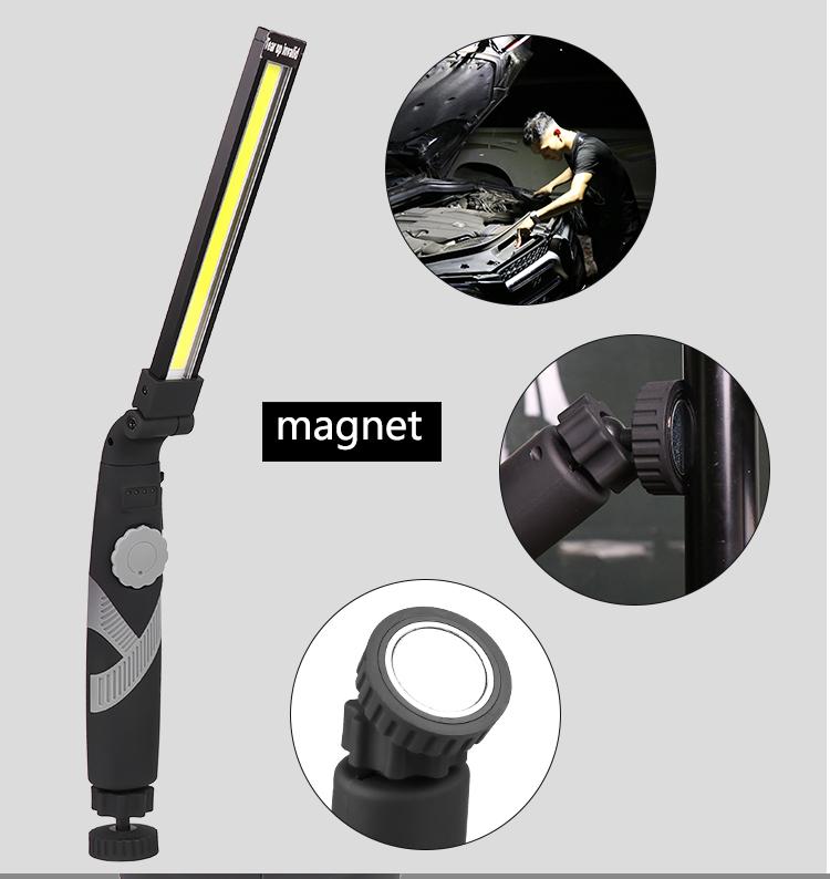 COB LED Rotated Foldable Portable Dimming Magnetic Work Light black_1465B-COB narrow side