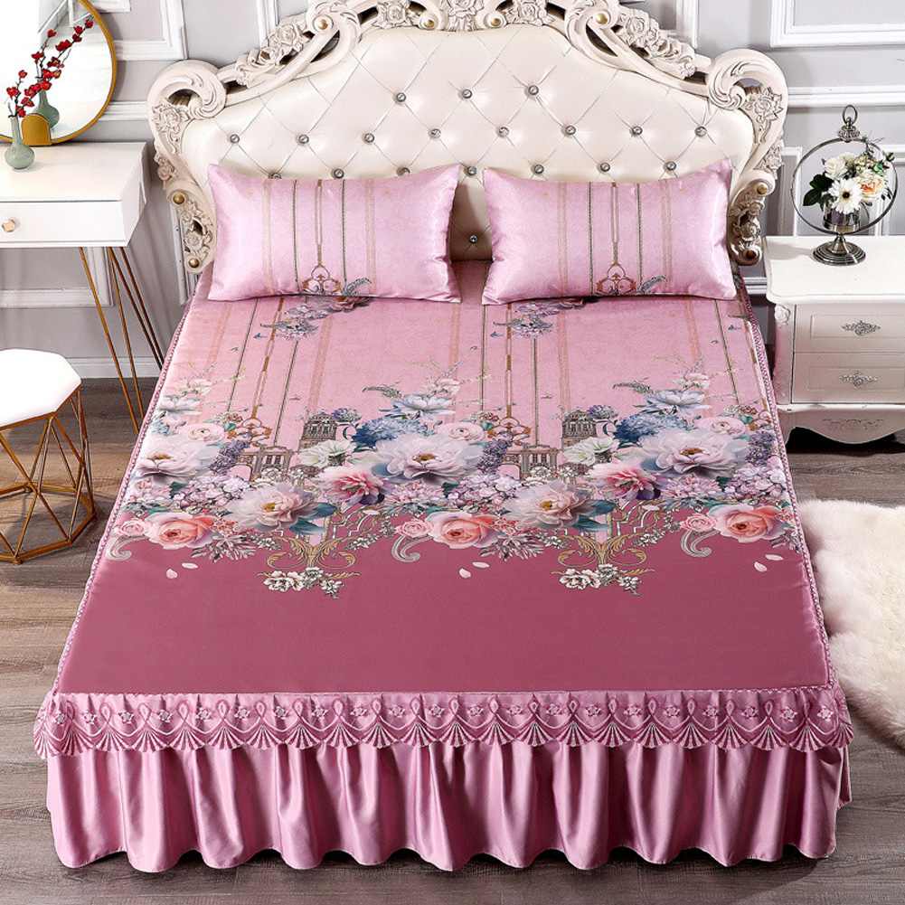 3Pcs/Set Summer Sleeping Mat+Pillowcase Set Washable Lace Bed Skirt Pillow Cover Flower rhyme still-pink