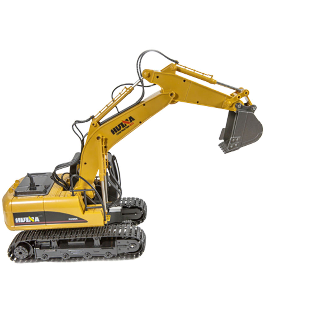 HuiNa Toys 1550 15Channel 2.4G 1/14 RC Car 680 Degree Rotation Metal Excavator Cool Sound/Light Effect Truck Yellow