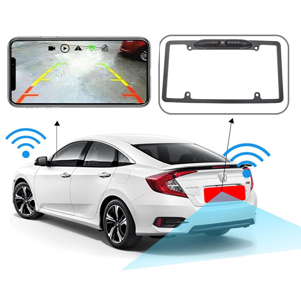 170° HD WiFi Car License Plate Wireless w/ Rearview Camera IR LED Night Vision black