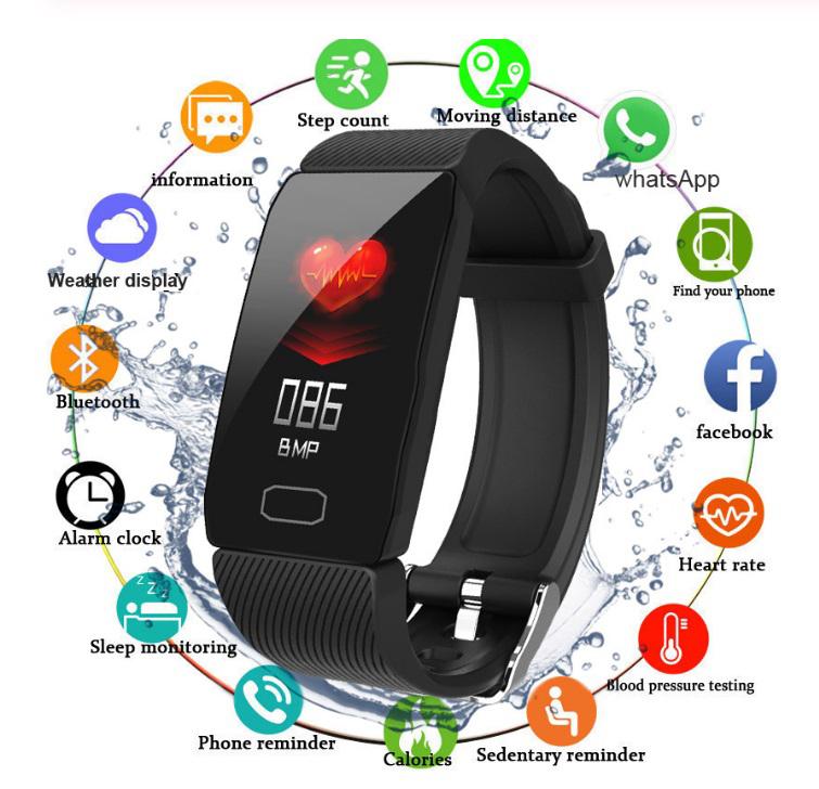 Smart Band Blood Pressure Q1 Heart Rate Monitor Fitness Tracker Watch Fitness Bracelet Waterproof Weather Display Women black