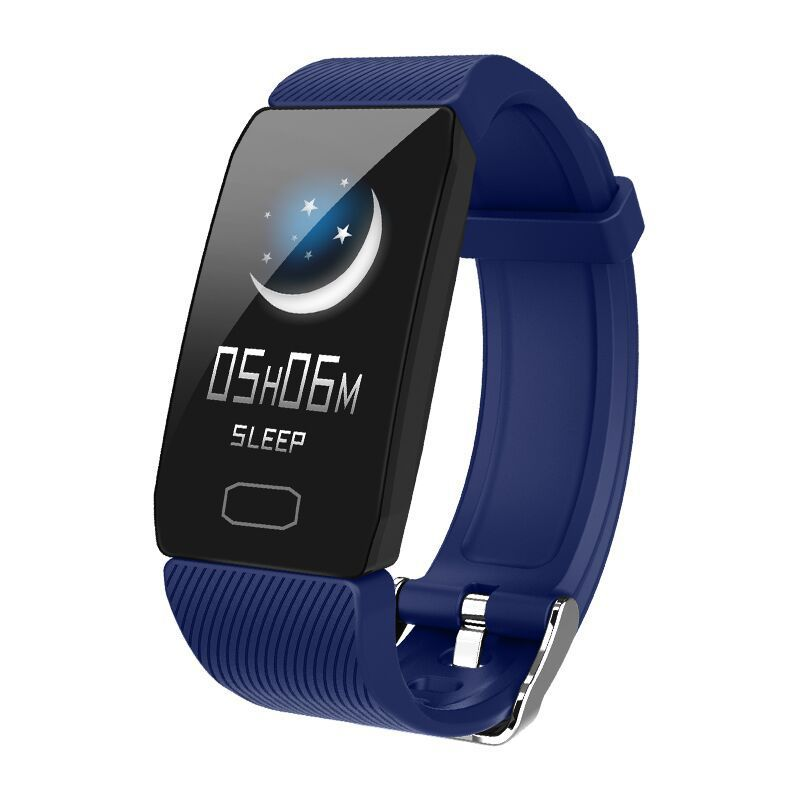 Smart Band Blood Pressure Q1 Heart Rate Monitor Fitness Tracker Watch Fitness Bracelet Waterproof Weather Display Women blue