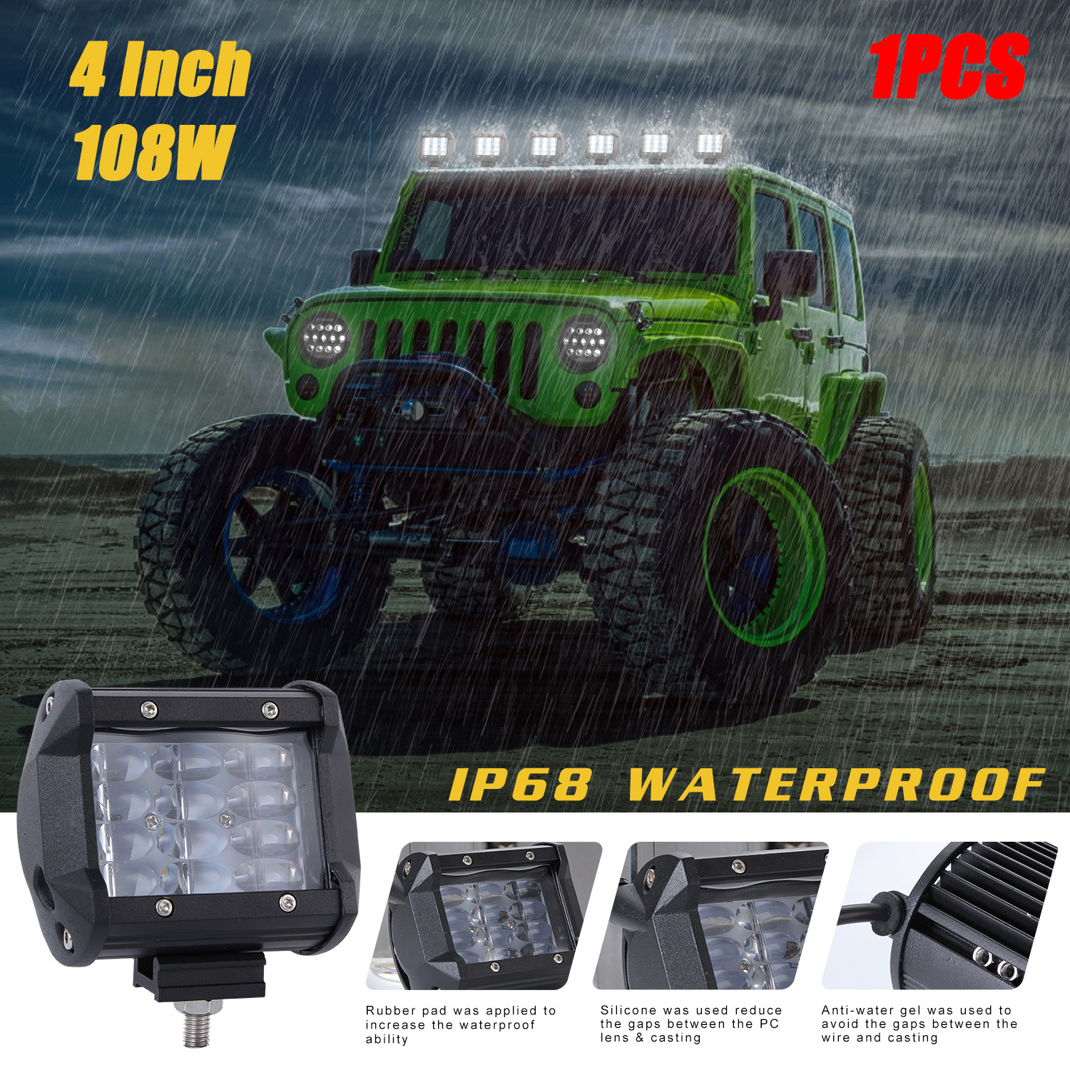 108W 4 Rows LED Work Light Bar for Offroad Off-road Truck  6000K white_1pc