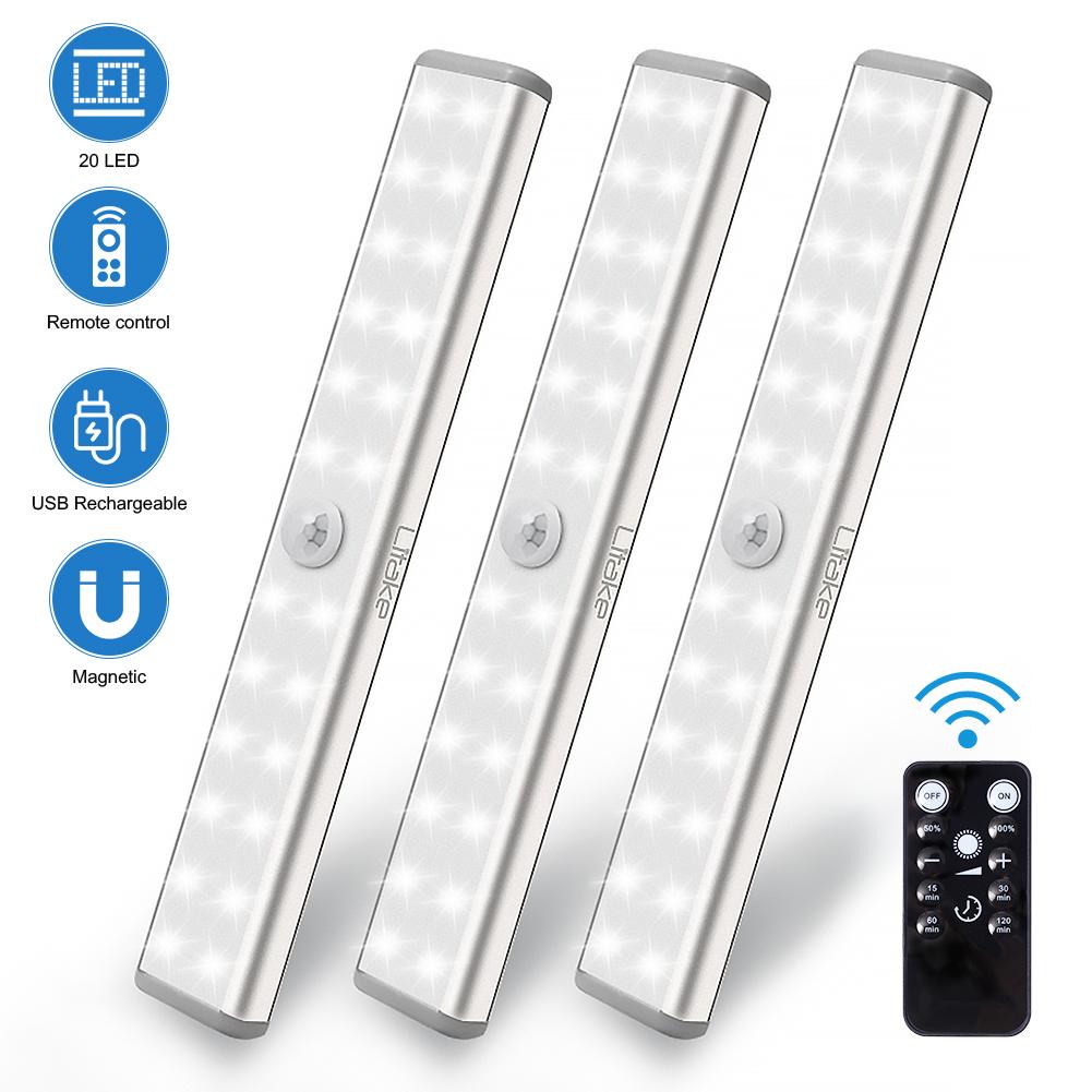 LITAKE 20LED charging remote control kitchen cabinet lamp 2PCS loading