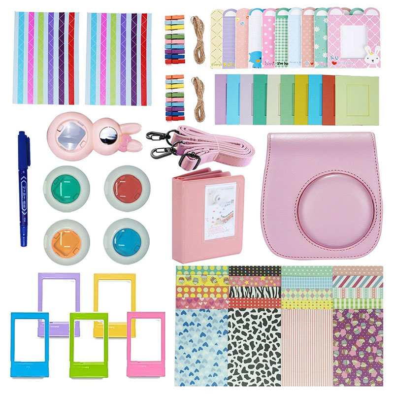 Camera Accessories Compatible with Instax Mini 9 or Mini 8 8+ Include Case/Album/Selfie Lens/Filters/Wall Hang Frames/Film Frames/Border Stickers/Corner Stickers Pink