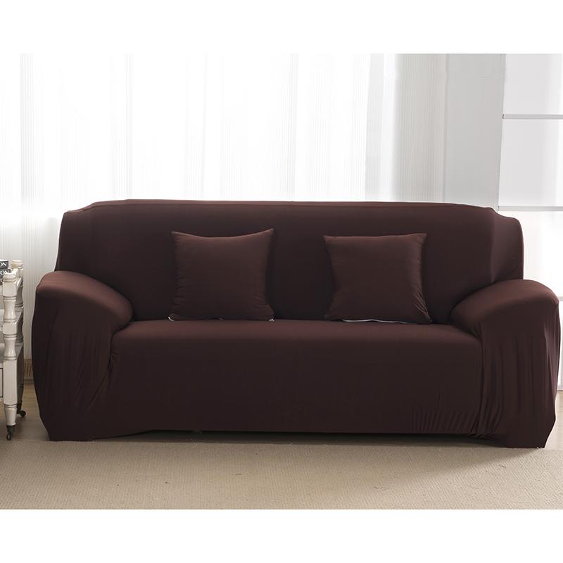 Stretch Polyester Sofa Slipcover Elastic Non-slip Pure Color Soft Chair Sofa Cover Anti-Mite Shield Stylish Furniture Protector Coffee_145-185cm