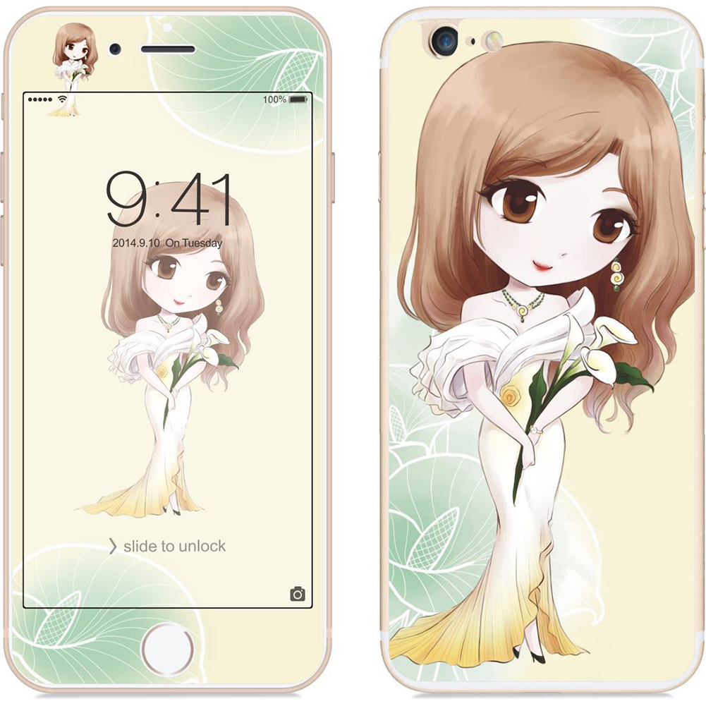For iPhone 6/6S 2.5D Arc Edge Cartoon Flower Fairy Style Front & Rear Colorful Full Protective Tempered Glass Film