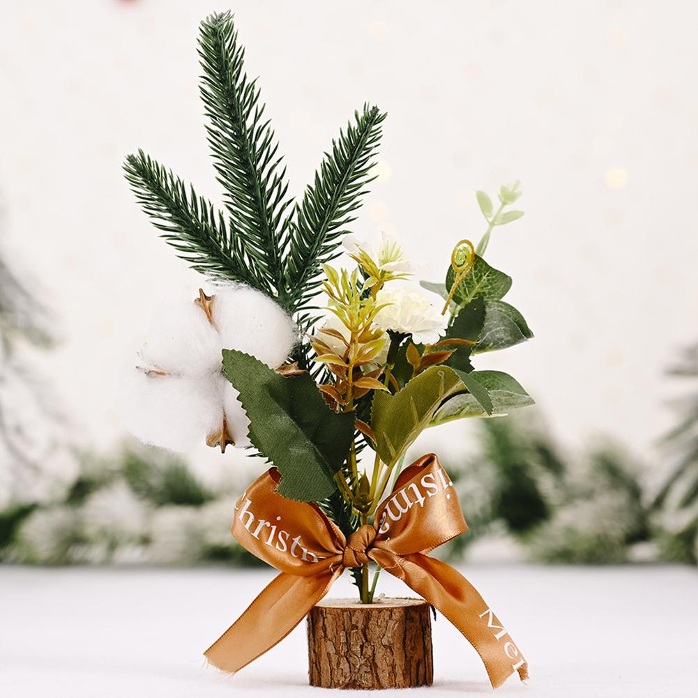 Mini Christmas Tree Shape Gifts Small Tabletop Simulate Berry/Matsuba/Cotton Shape Xmas Tree Decoration Cotton C