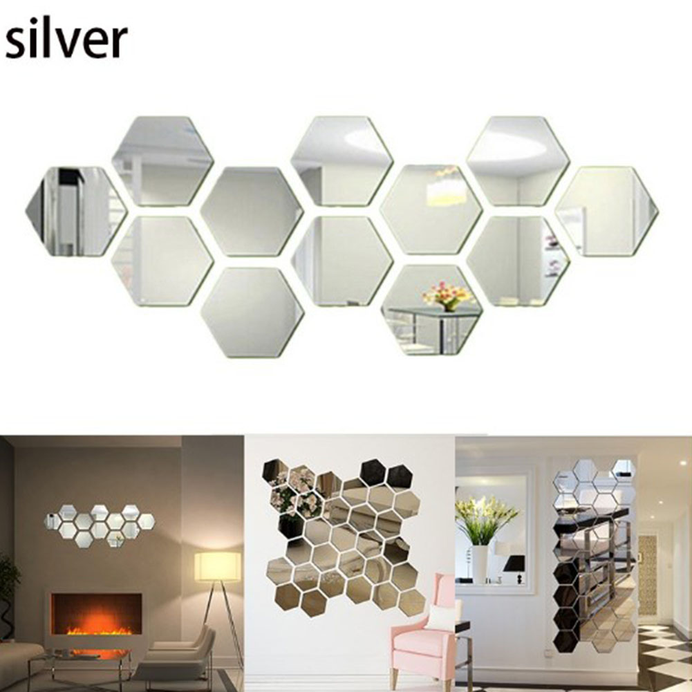 12Pcs Acrylic Hexagon 3D Art Mirror Wall Sticker Home DIY Decor Silver_46x40x23mm