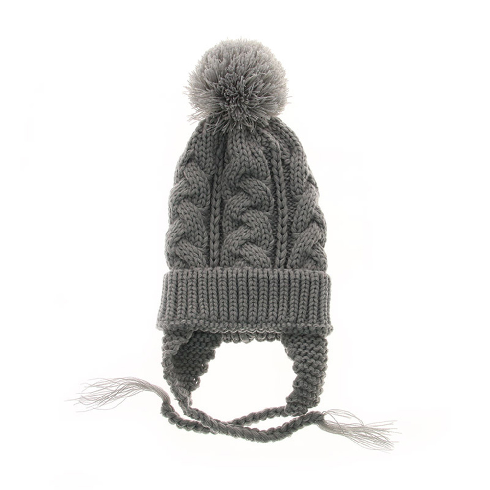 Baby Cute Knitted Cap Fashionable Pigtail Fuzzy Ball Warm Woolen Cap Hat for Kids