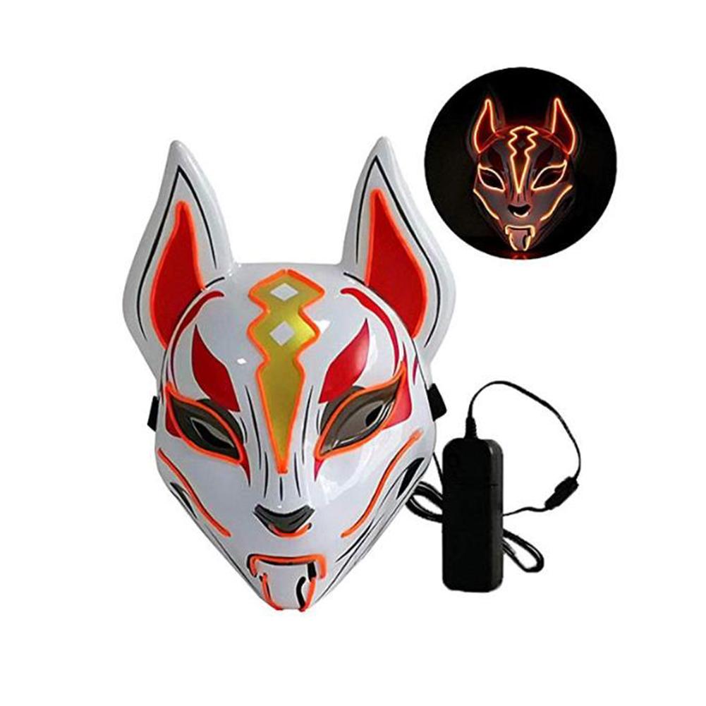 Women Men LED Luminous PVC Mask for Carnival Dance Ball Halloween Christmas 20*24 Orange