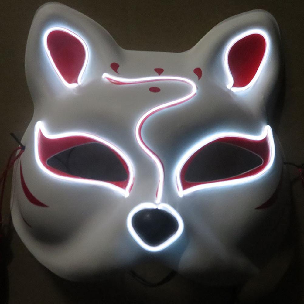 Half-Faced LED Light Emitting Japanese styel Mask for Halloween Dress up Party Dance 16X18CM white
