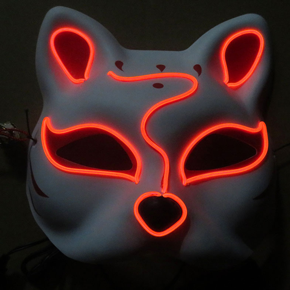 Half-Faced LED Light Emitting Japanese styel Mask for Halloween Dress up Party Dance 16X18CM red