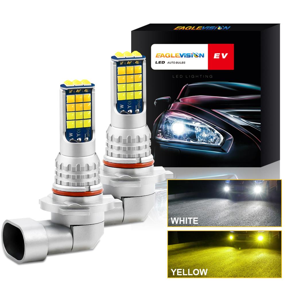 1 Pair Aluminum Car V6 High-brightness Dual-color Fog Lamp Car Light 9005
