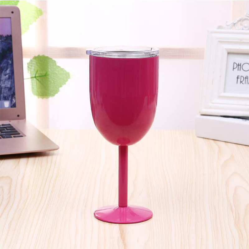10 oz Double-deck Insulation Cocktail Tumbler Wine Cup Stainless Steel Goblet Mug with Lid