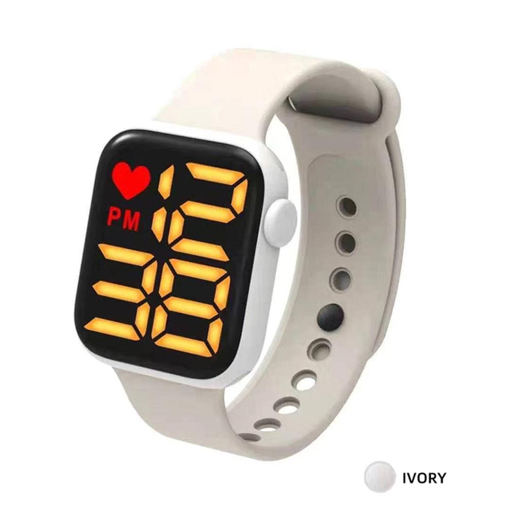 Digital  Smart  Sport  Watch Fashion Small Square Waterproof Touch Sports Led Electronic Wristwatch White_Yellow light