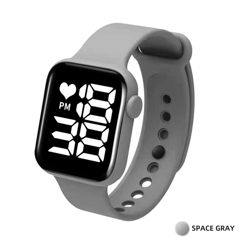 Digital  Smart  Sport  Watch Fashion Small Square Waterproof Touch Sports Led Electronic Wristwatch Gray_White light