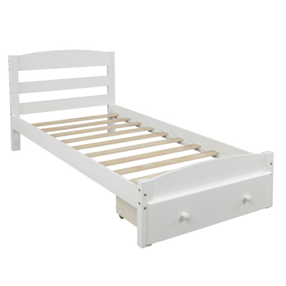 [US Direct] Walnut Platform Double-bed  Frame With Storage Drawers Plank Support With Built Slat white