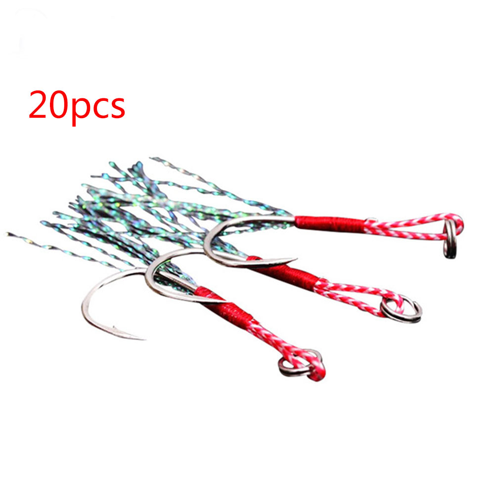 20pcs/lot Fishing Lure Slow Jigging Fishing Cast Jigs Assist Hook Barbed Single Jig Hooks Thread Feather Pesca High Carbon Steel Silver blood tank 18#/piece