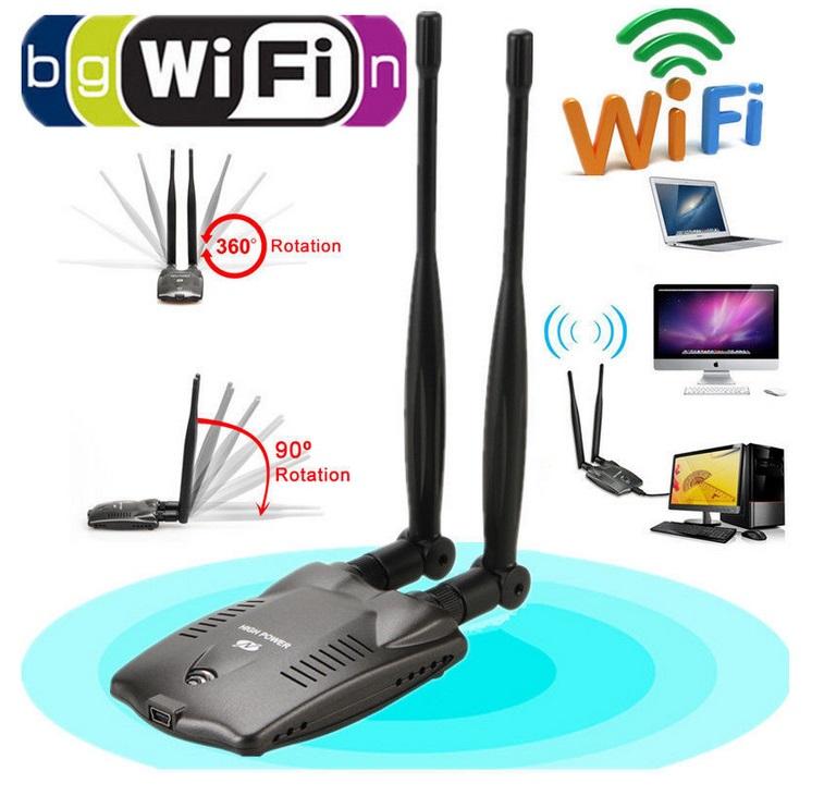USB Wifi Adapter Wireless Network Card Ralink 3000mW High Power Dual Antenna black