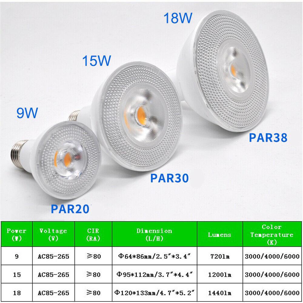9W/15W/18W AC85-265V E27 LED PAR20 PAR30 PAR38 Bulb Not Dimmed White light