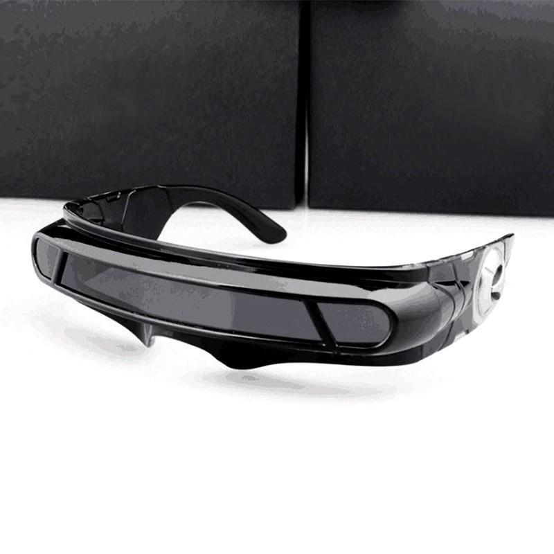 Cool Sunglasses with Narrow frame Cyclops Shield Party Mirror Mono Lens polaroid glasses
