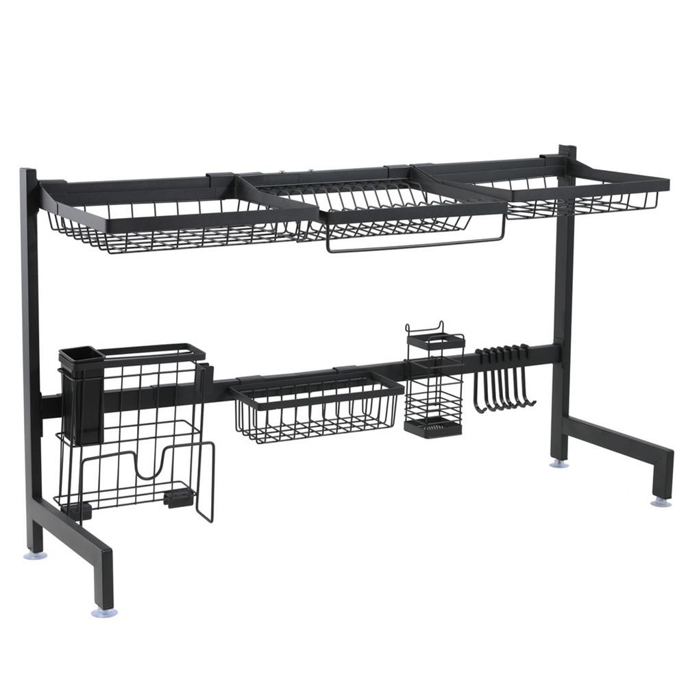 [US Direct] Single Layer Bowl  Rack Shelf Dish Drainer 92cm Inner Length Kitchen Organizer black