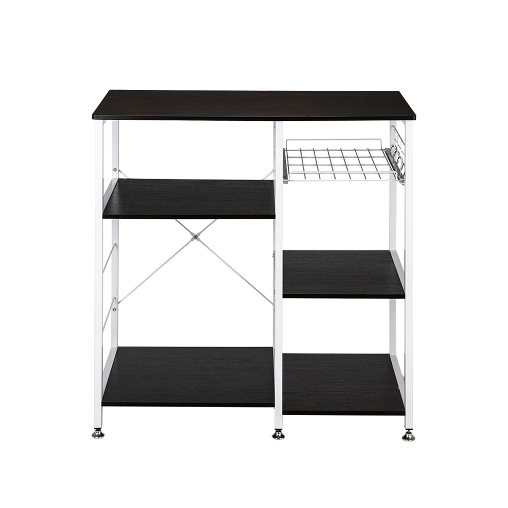 [US Direct] 90*40*84cm Floor-standing 4-layer Microwave Oven  Rack With Pull-out Basket+X Cross Piece On The Back black
