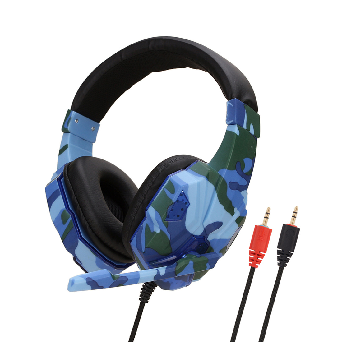 Earphone Gaming Headset Camouflage Headphones with Microphone for PC Laptop Camouflage Blue PC Edition