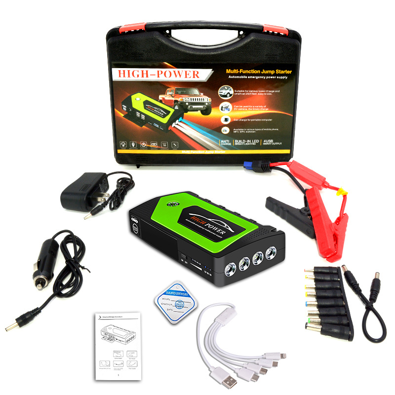 12v Car Jump Starter Emergency Starting Power For Car Portable Power Source Power Bank Green toolbox set_JX28 69800mAh
