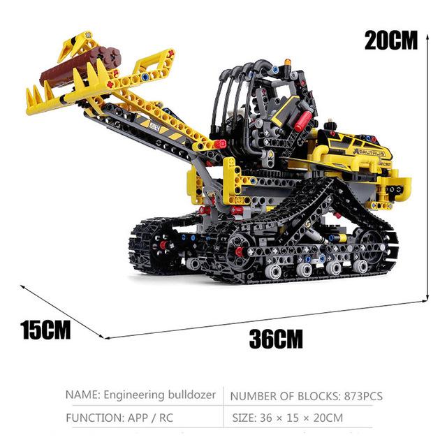 Lepins Technic Tracked Loader 42094 Building Blocks Bricks Educational Birthday Gift Toys for Children APP version engineering forklift 873/PCS