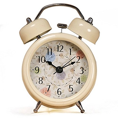 ONOR-Tech 3`` Farm Vintage Metal Twin Bell Alarm Clock With Light for Home decoration