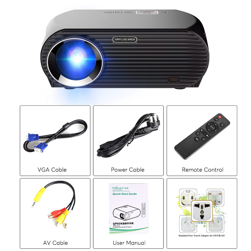 HD Android Projector - Android 6 0, 5 8-Inch LCD, 800p, Quad