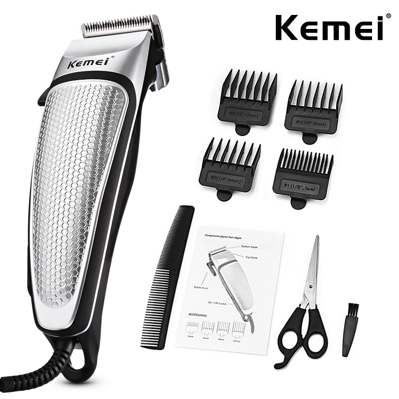 Professional Hair Clipper Electric Trimmer Household Low Noise Haircut Men Shaving Machine Hair Styling Tool Silver_EU Plug