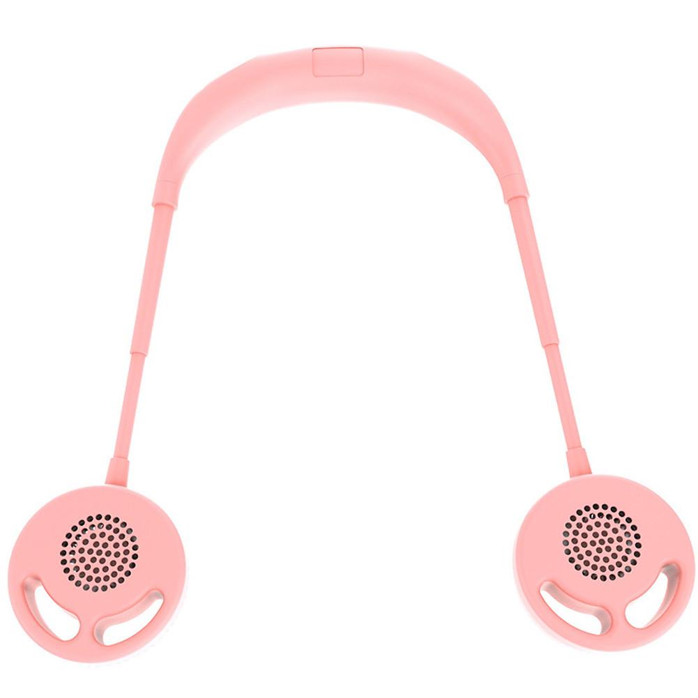 Bladeless Portable Mini Fan USB Rechargeable Quiet Hand Free 3 Adjustable Speed Neckband Fan Pink