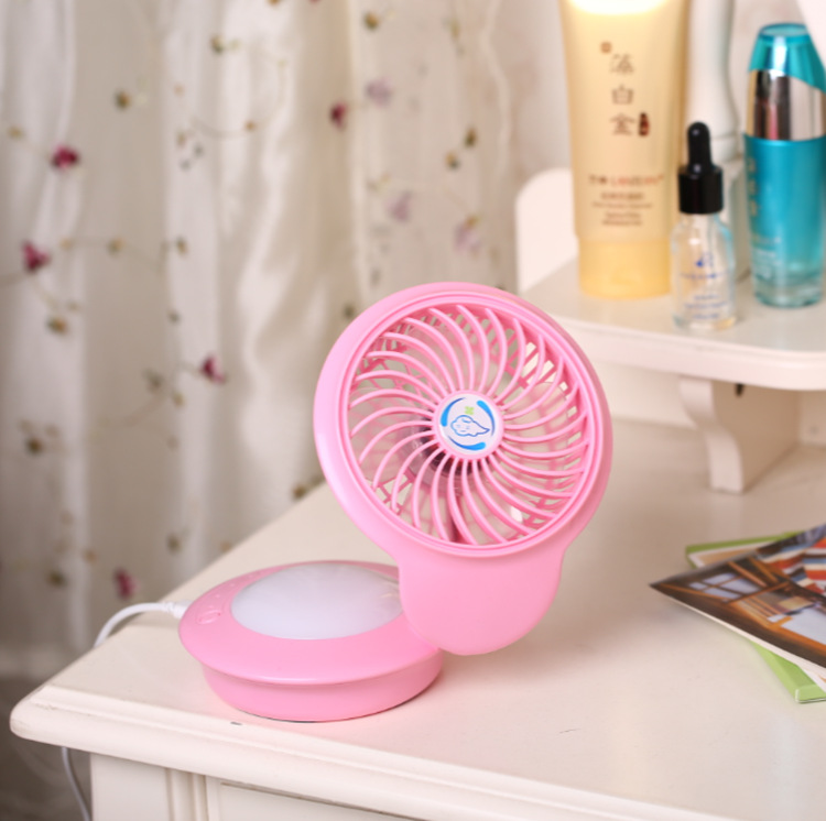 USB Rechargeable Mini Fan with 7 Colors Change Night Light for Home Tabletop Pink