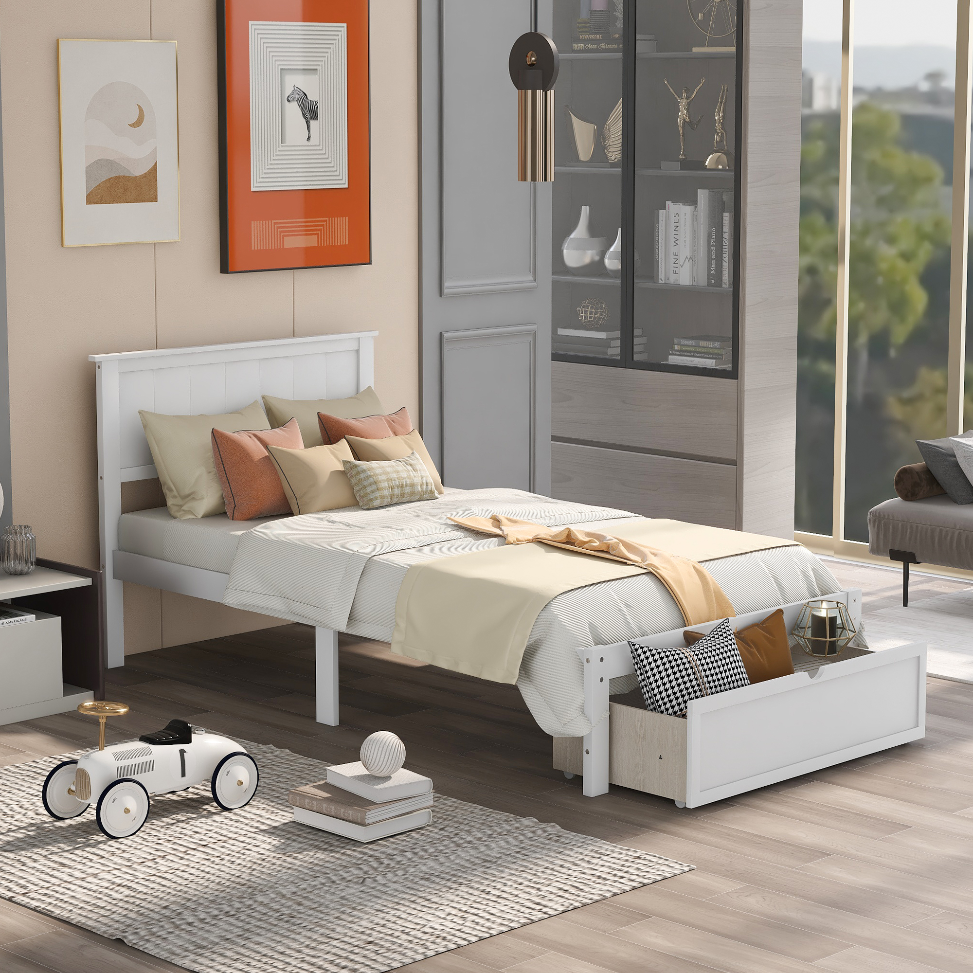 [US Direct] Twin Size Platform Bed with Under-bed Drawer, Gray