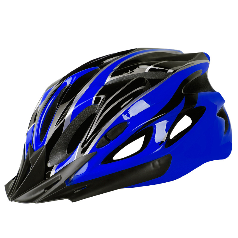 Bicycle Cycling Helmet EPS+PC Cover Integrated-Mold Breathable Riding Helmet MTB Bike Safely Cap Riding Equipment Blue black_Head circumference 52-60 adjusted