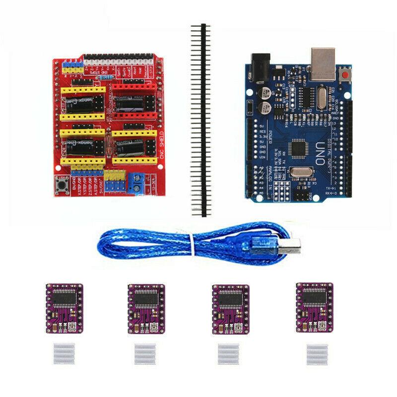 UNO R3 Board for Arduino Compatible + CNC V3 Shield + 4x DRV8825 Driver Red + blue