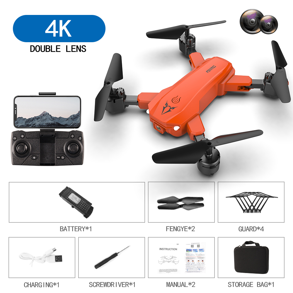 S80  2.4g  Drone Black Orange Drone Toy Orange 4K dual camera switch