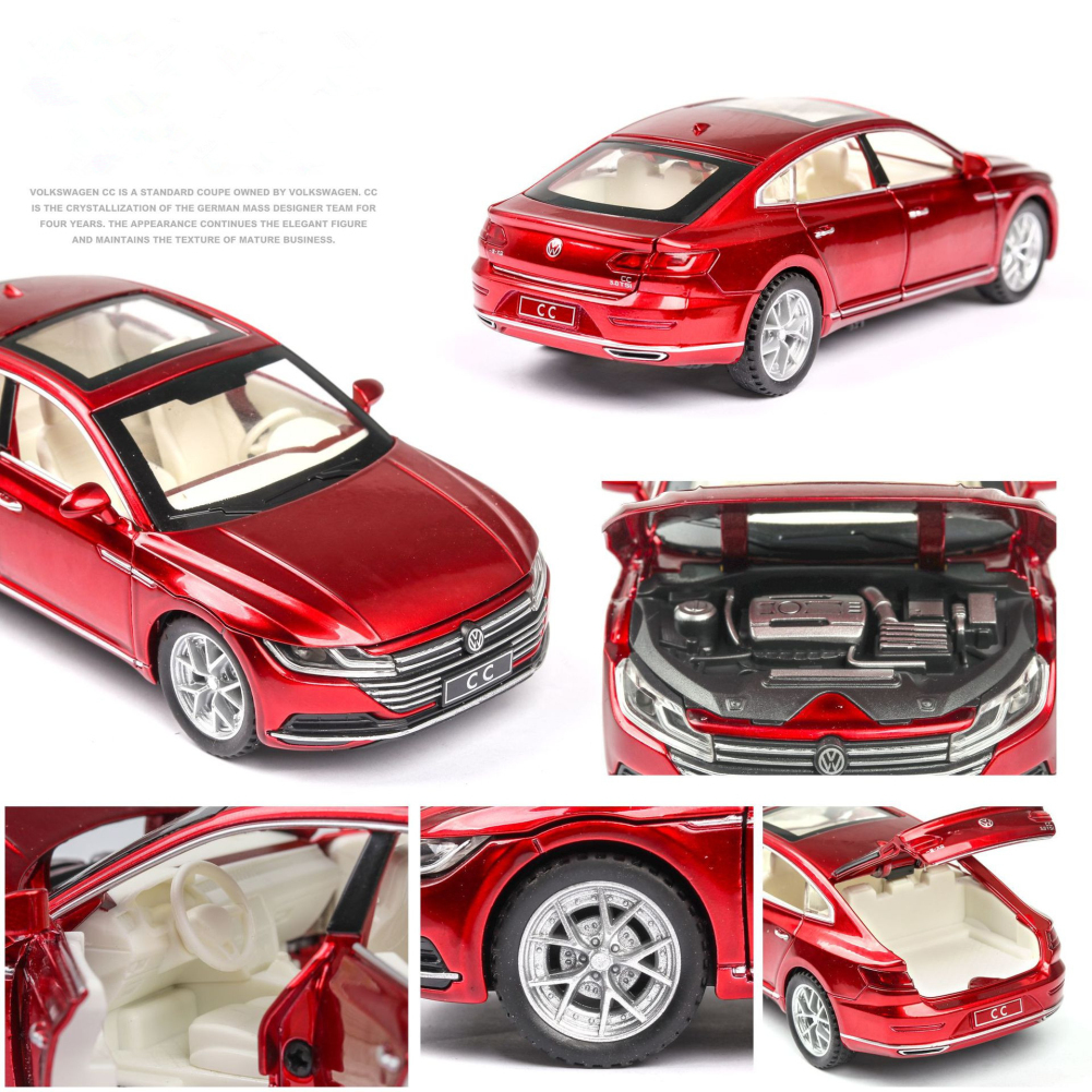 1:32 Simulation Car Model Light Sound Doors Open Alloy Pull Back Auto Toy Gift Collection red