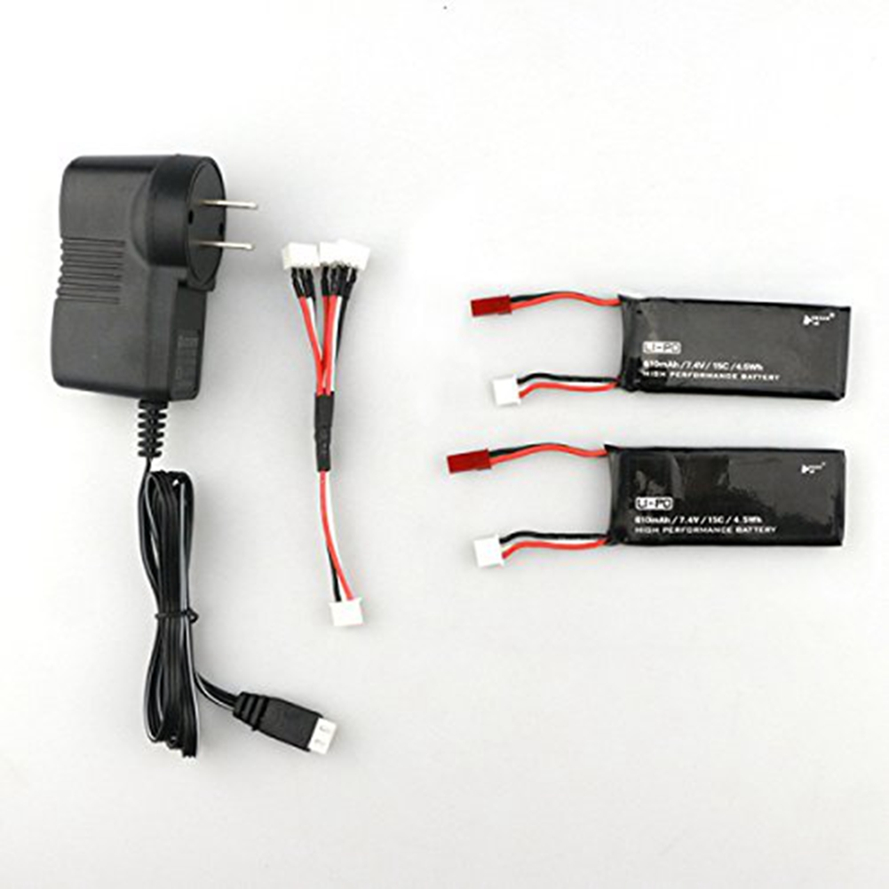 [US Direct] Spare Parts 2PCS 7.4V 15C 610mAh Battery with Charger Set for Hubsan H502S RC Quadcopter