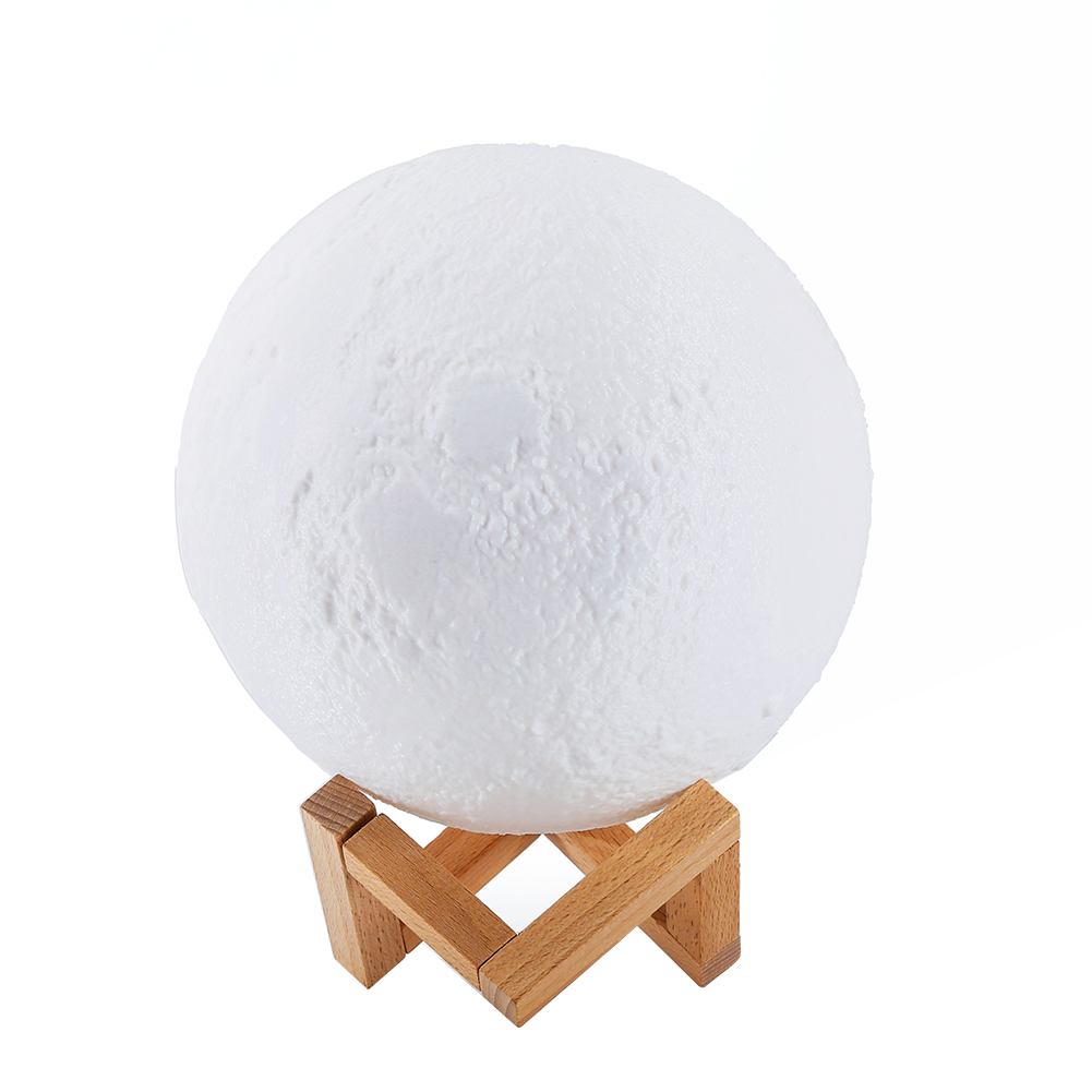 Simulation 3D Moon Night Light, 3 LEDs USB Rechargeable Moonlight Desk Lamp with Wood Base