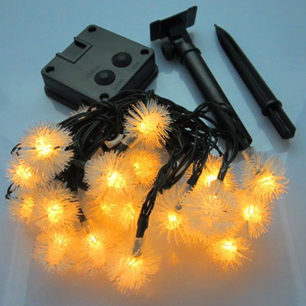 Christmas Solar String Lamp 20LED Fur Ball Style Light String Garden Yard Decoration Color Lights Warm White