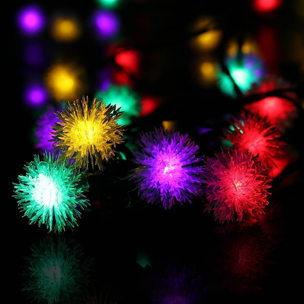 Christmas Solar String Lamp 20LED Fur Ball Style Light String Garden Yard Decoration Color Lights color