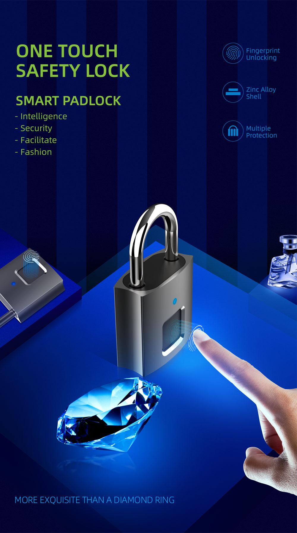 L36 Smart Fingerprint Lock Rechargeable Door Keyless Quick Unlock Padlock black