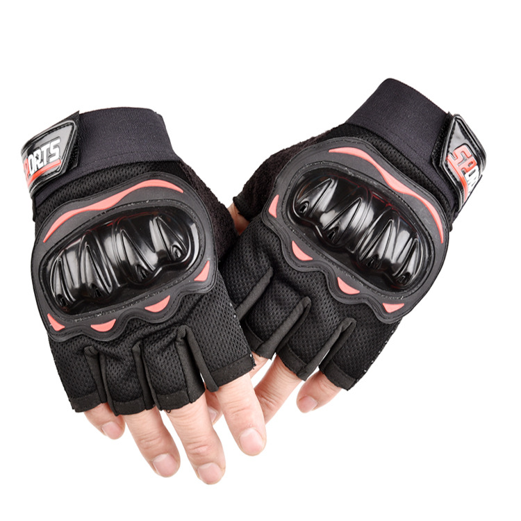 Outdoor Motorcycle Fingerless Gloves Half finger gloves Hard Knuckle Motorbike Cycling Fingerless Gloves  yellow_One size