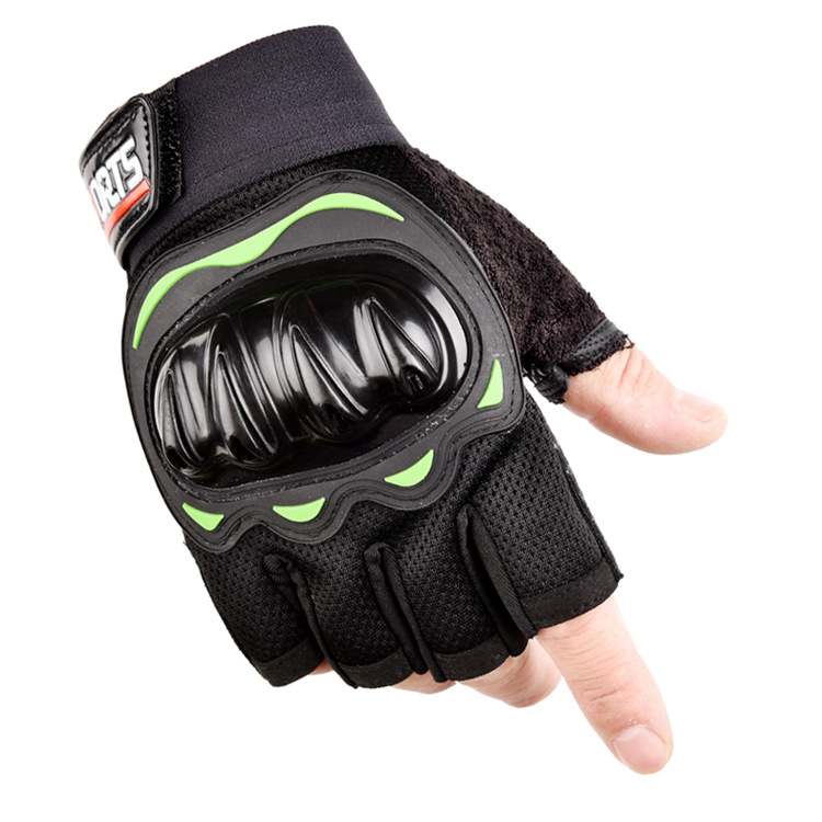 Outdoor Motorcycle Fingerless Gloves Half finger gloves Hard Knuckle Motorbike Cycling Fingerless Gloves  green_One size