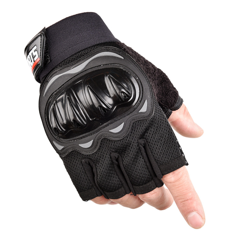 Outdoor Motorcycle Fingerless Gloves Half finger gloves Hard Knuckle Motorbike Cycling Fingerless Gloves  black_One size