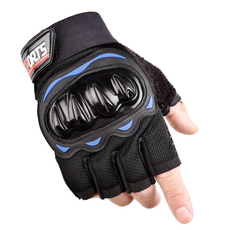 Outdoor Motorcycle Fingerless Gloves Half finger gloves Hard Knuckle Motorbike Cycling Fingerless Gloves  blue_One size